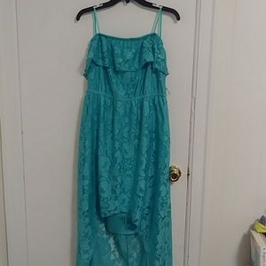 Deb's Teal floral high low dress without belt.